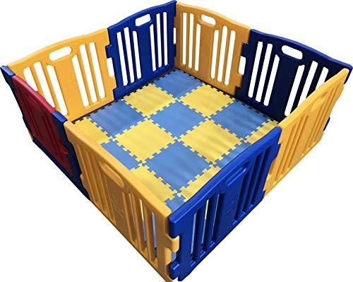 parque de bebe xl 8 piezas star ibaby play twin/incluye alfombra puzzle 16 piezas/multiples formas de montaje