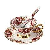 Porzellan Keramik Tee-Tasse Tasse Kaffee Mit Untertasse, Blumen, Weiß Und Rot