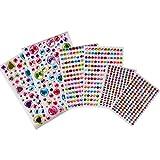 AONER (Kit da 878pz) 6 fogli Strass Adesivi Acrilico Colorati Brillantini Autoadesivi Rotondo Decorativi Glitter Pietre Gemme per Cellulare Fai da Te