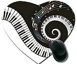 Notes de musique avec piano Clés antidérapant confortable tapis de souris, tapis de souris personnalisé coeur