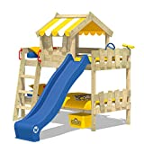 WICKEY Litera CrAzY Circus Cuna Cama de cucheta con tobogán, tejado y somier de madera, lona amarillo + tobogán azul