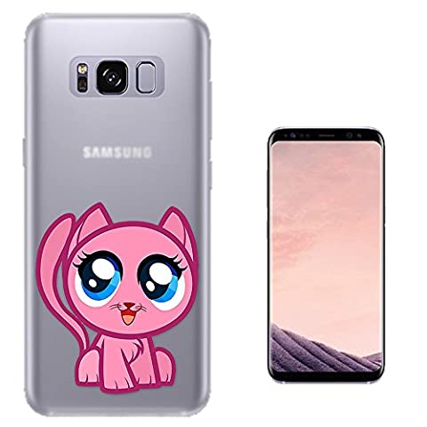 c00484 - Cool Fun Trendy Cute Pink Kitty Cartoon Pet Animal Kitten Feline Kawaii Design Samsung Galaxy S8 Fashion Trend Protecteur Coque Gel Rubber Silicone protection Case Coque