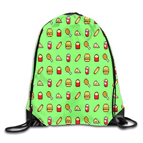 Unisex Drawstring Bag Fast Food Green Home Travel Outdoor Sports Storage Rope Bag Green Food Storage