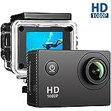 VicTsing Caméra Sportive Étanche 30m Haute Définition Full HD 1080p 12MP Caméscope d'action avec 170 Degrée Grande Angle pour Ski, Plongée, Vélo, Voiture, Randonnée, Planche de surf, etc