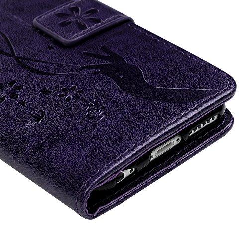Cover iPhone 6S Flip Custodia iPhone 6 Libro Pelle PU e TPU Silicone con Funzione Supporto Chiusura Magnetica Portafoglio Libretto Bumper Case per iPhone 6/6S, Grigio Viola