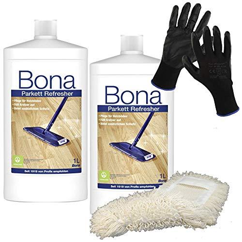 Bona Parkett-mopp (2x Bona Parkett Refresher 1 Liter inkl. Baumwollmopp und Arbeitshandschuhe)