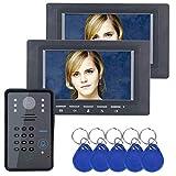Bulary 7 pollici 2 monitor videocitofono campanello videocitofonico citofono kit citofono RFID videocitofono citofono campanello con telecamera IR sistema di controllo accessi remoto campanello