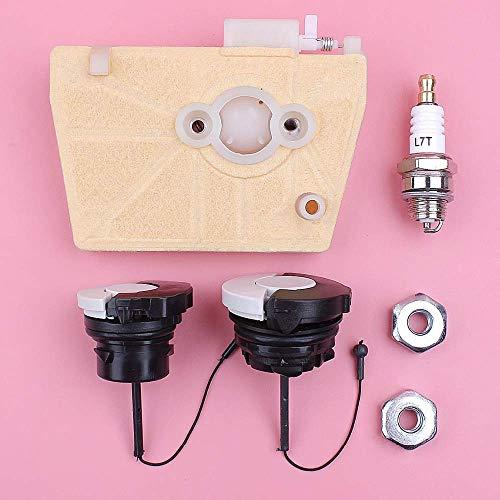 AiCheaX Strumenti Kit Tappo Candela Candela Olio combustibile Olio Filtro Olio per Stihl 038 MS380 MS381 MS 380 381 Motosega Pezzo...