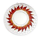 Feng Shui Spiegel Dekospiegel Matahari Sonne Ø 20cm aus Holz weiß Mosaik rot gelb, Wanddeko Wandsymbol Symbol Solarplexus, Chi Energie lenken, Dekosonne