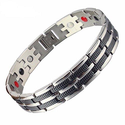 SSC Herren Magnet Armband Edelstahl, silber poliert / schwarz, Magnetarmband (2000+ Gauss), antiallergener Schmuck (316L Chirurgenstahl), Geschenk für Herren (SSC-225)