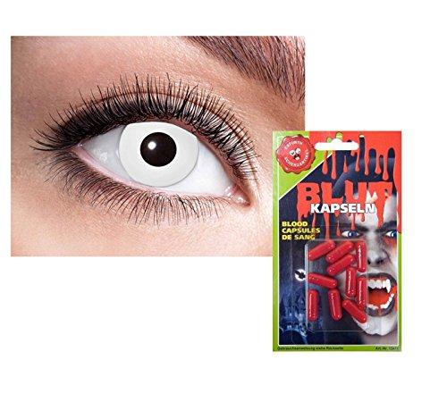 2-Set Grusel Halloween - Weiße Kontaktlinsen Vampir weisse Linsen Tageslinsen ohne Stärke + Blutkapseln Kunstblut Mund künstlich zum zerbeißen von TK-Gruppe (Gruppe Halloween Kostüm)