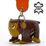 Affe Anton - Deko Schlüsselanhänger Figur aus Leder in der Kategorie Plüschtier / Stofftier / Kuscheltier von Monkimau in braun - Dein bester Freund. Immer dabei! - 5x2x4cm LxBxH klein, jeweils 1 Stück