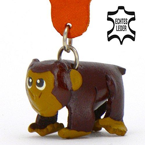 Affe Anton - Deko Schlüssel-anhänger Figur aus Leder in der Kategorie Plüschtier / Stofftier / Kuscheltiere von Monkimau in braun - Dein bester Freund. Immer dabei! - ca. 5cm klein Elektronische Riegel Schlüsselanhänger