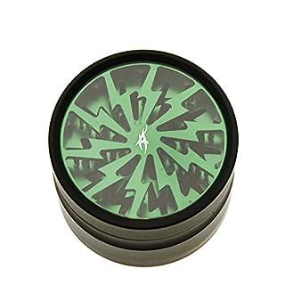 Grinder mit Reinigungs-Set: After Grow Thorinder schwarz-grün - Siebgrinder mit transparentem Deckel - 4 Teile, 6,2 cm Durchmesser - head&nature Smoke Shop