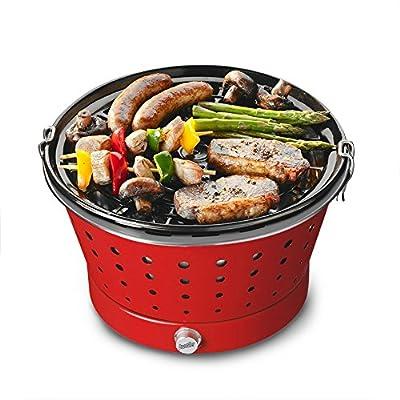 Bruzzzler Grillerette Classic, handlicher rauchfreier Grill für Outdoor und Gartenparty mit großem Rost und stufenloser Zuluftregulierung