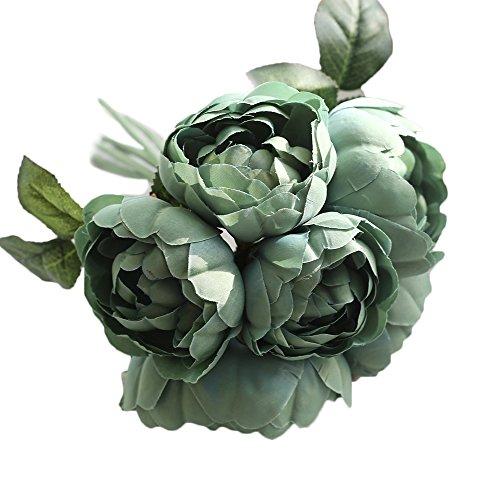 Estyle Fashion 6pcs ein Strauß von Hochzeit Brides Künstliche Rose Blumenstrauß Blume für Outdoor Dekoration im Innenbereich dunkelgrün -