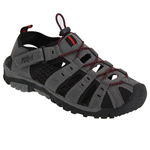 PDQ - Sandales de marche à lacets et sangle scratch - Garçon Gris/Rouge