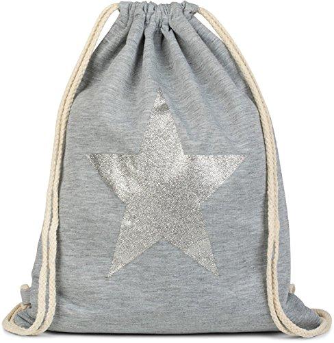 styleBREAKER borsa sportiva hipster con stella glitter, zaino streetstyle, borsa sportiva, bauletto, unisex 02012195, colore:Grigio scuro - Argento Grigio chiaro a pois / Argento
