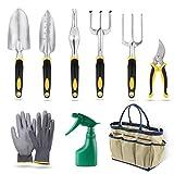 Yissvic 9pcs Gartenwerkzeug Set Gartengeräte Set Kleingeräte aus Edelstahl Gelb