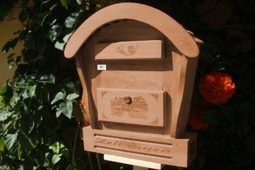Haus HBK-RD-DUNKELBRAUN Briefkasten, Holzbriefkasten in amazon dunkelbraun braun Briefkästen HolzHBK-RDBriefkasten, Holzbriefkasten teak Farbe Postkasten Runddach