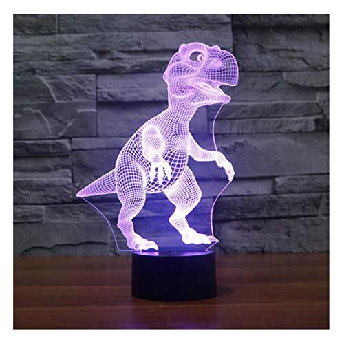 lunaoo Nachtlicht Kinder Nachttischlampe LED 3D Lampe Dinosaurier, Stimmungslicht 7 Farben ändern Schreibtischlampen für Geburtstag Geschenk