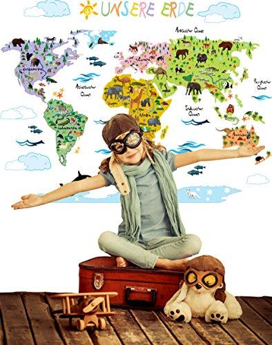 Wandsticker Weltkarte Kinder | Geographie & Tierwelt spielerisch ...