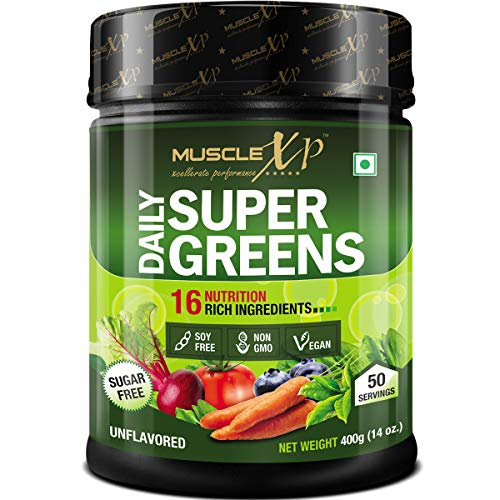 MuscleXP Sugar-free Daily Super Greens with 16 Nutrition Rich SuperFood (Unflavoured, 400 g, 14 oz, 50 Servings)