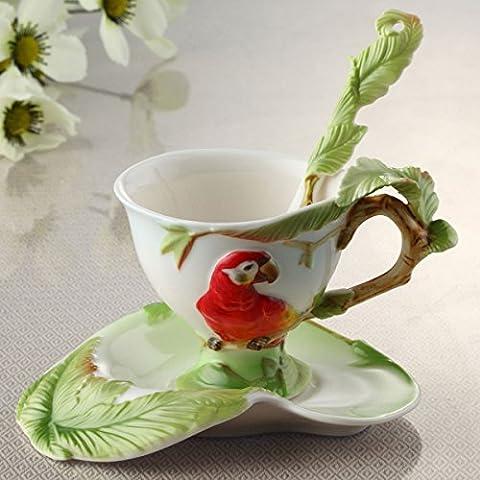 MZMZ-generic Gourmet Küche Küche zu Hause Ideen Geschenke continental Papagei Keramik Klasse Emaille Porzellan Tasse und Untertasse, Tasse