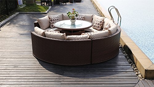Yakoe 50143 Monaco 10 Seater Round Rattan Outdoor Patio Garden Furniture Dining Table Sofa ... & Yakoe 50143 Monaco 10 Seater Round Rattan Outdoor Patio Garden ...