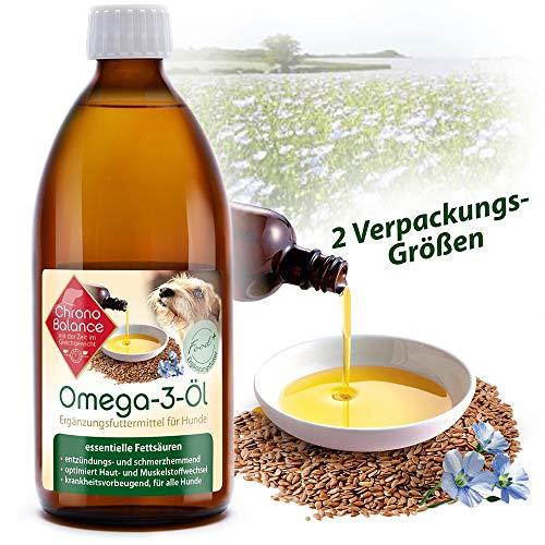 ChronoBalance® Omega-3 Öl für Hunde, Nahrungsergänzung für Gelenke, Fellpflege aus Leinöl und Lachsöl +++NEU+++ (500ml)