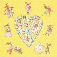 Lotto di 2 tovaglioli in carta, a forma di cuore, con conigli e Pascal uova