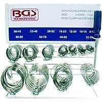 BGS Schlauchklemmen-Sortiment, Inox, auf Tafel, 111-teilig, BGS-8095
