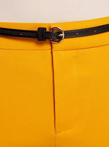 oodji Collection Damen 7/8-Hose mit Gürtel Gelb (5200N)