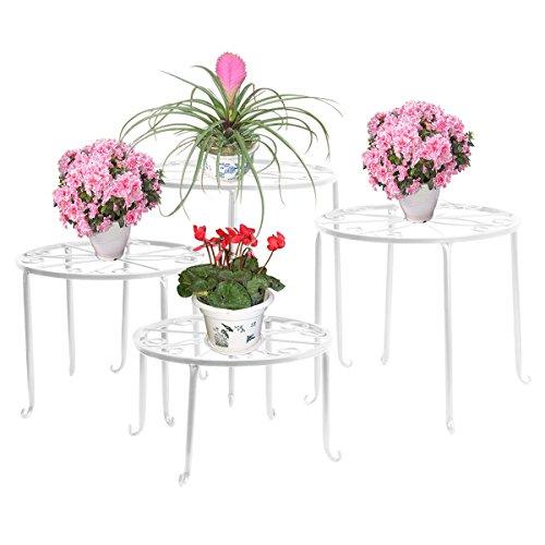 FullBerg Blumenständer Metall Weiß Tisch Blumenregal Balkon Blumenbank Blumenleiter Dekoratives Pflanzentreppe für Innen und Draußen Wohzimmer Indoor Outdoor Garten Deko Pflanzenregal