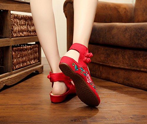 DESY pattini ricamati, biancheria, unico tendine, stile etnico, scarpe femminili, modo, comodo, sandali Red