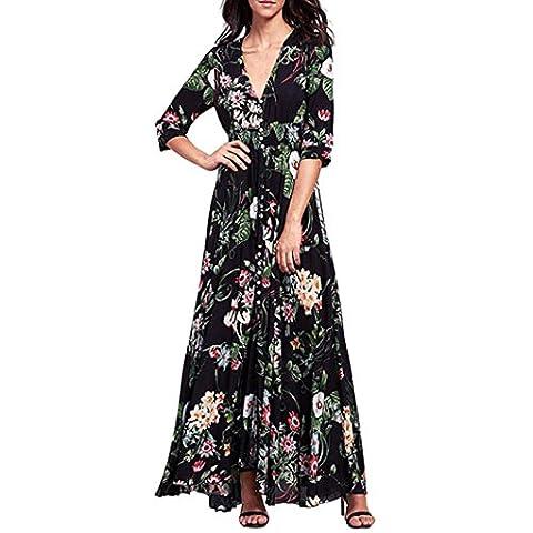 Col V Longue Robe Manches Courte pour Femme - Taille Haute Robe de Bohême Casual (Asie XL, Noir)