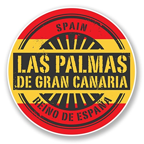 Preisvergleich Produktbild 2x LAS PALMAS Gran Canaria Vinyl Aufkleber Aufkleber Laptop Reise Gepäck Auto Ipad Schild Fun # 6733 - 10cm/100mm Wide