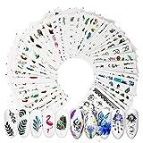 VINFUTUR 69 Fogli Adesivi Unghie Decalcomania Trasferimento ad Acqua 3D Nail Stickers Water Decals Nails Fai da Te Arte Unghie Autoadesivi Nail Art (Multicolore - 69 fogli)