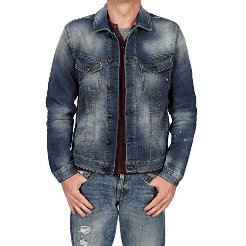 JACK & JONES Herren Jogg Jeans Jacke O DANIEL KNITTED DENIM Blue...