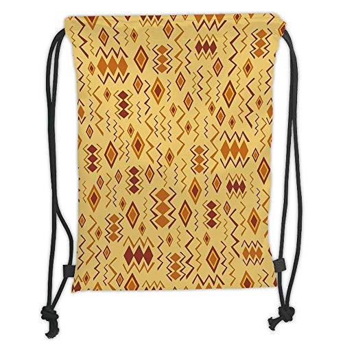 LULUZXOA Gym Bag Printed Drawstring Sack Backpacks Bags,Tribal,African Art with Ethnic Quirky Forms Abstract Cultural Icons Primitive Design,Sand Brown Ginger Soft Satin -
