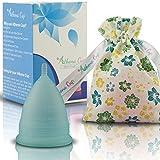 Menstruationstasse Größe 2 für normale bis starke Blutung - 12 Stunden Schutz - wiederverwendbarer Menstruationsbecher - Menstruations Cup (Modell 2, blau) von ATHENA Cup