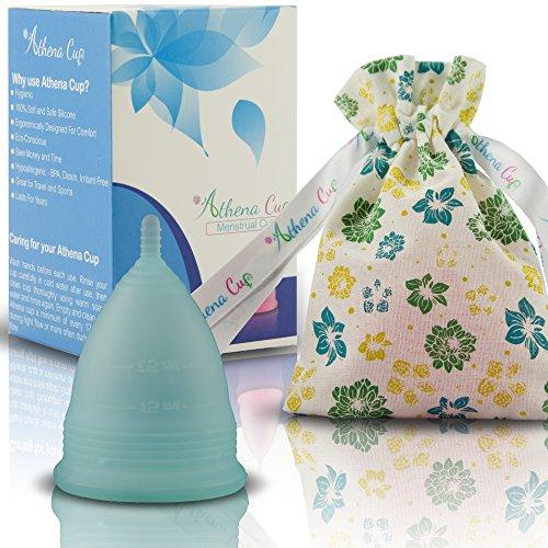 Menstruationstasse Größe 1 (klein) für leichte Blutung | 12 Stunden Schutz | wiederverwendbarer Menstruationsbecher | Menstruations Cup (Modell 1, blau) von ATHENA Cup Cup-größe
