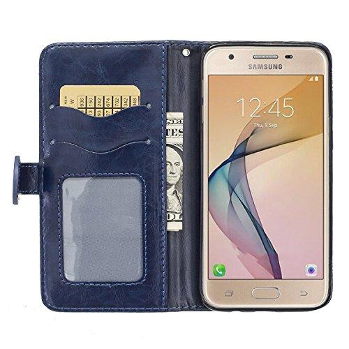 PU für Samsung Galaxy J5 Prime Hülle Lederhülle Flip Wallet Cover PU + TPU Tasche PU Schutz Etui Schale Schutzhülle Für (Samsung Galaxy J5 Prime / On5 (2016) mit Magnetverschluss Magnetic Flip Booksty 1