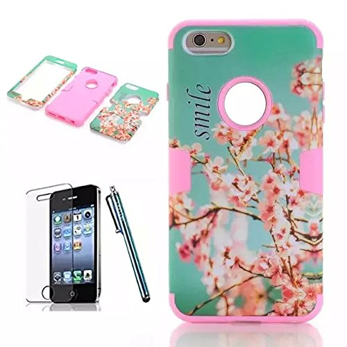 iPhone 6 Plus Case,Lantier Hybrid Tuff Shockproof Case for Apple iPhone 6 Plus 5.5inch 3 in 1 Combo Front Back Full Body Case with Plastic Silicone Screen Protector Stylus Cherry Blossom Flower/Blue Cherry Blossom Flower/Pink