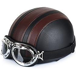 Annong Casque de Moto et Velo Bol Lunettes Retro Style de Vintage Cuir Harley Casque Moitié Helmets 54-60cm (Brown)