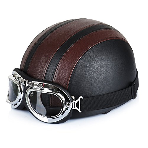 Motorrad Roller Open Face halbes Leder Helm mit UV Schutzbrille Retro Vintage Style 54-60cm