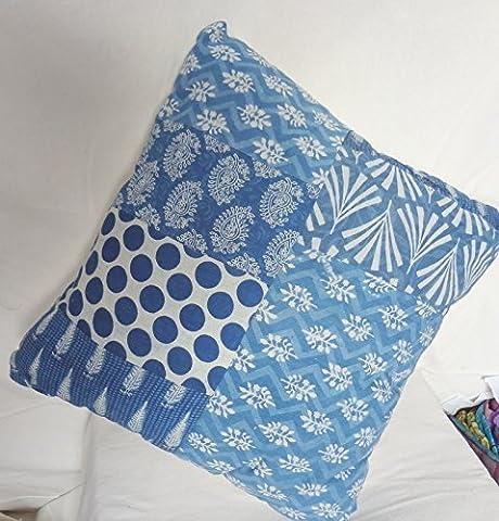 traditionnel Jaipur Indigo Taie d'oreiller 16x 16, Block Tissu imprimé indien Coussins, Patchwork Couvre-lit décoratif Taie d'oreiller Housse de coussin d'extérieur, faite à la main, Boho Taie d'oreiller Sham