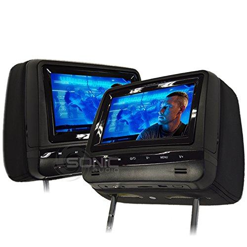Sonic Audio hr-7a Universal lederartiges Auto DVD/Multimedia Kopfstütze-Bildschirme/Monitore mit USB/SD und Spiele-inkl. 2x Kopfhörer, kabellos, schwarz Farbe