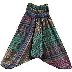 Pantalones bombachos multicolores rayas algodón estilo Aladín falda-pantalón India