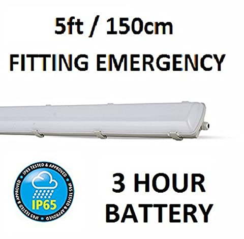 V-tac LED Emergency Batten Fitting 58w- 5ft - 150cm Length / Cool White 6500K / 5000 Lumens / Fluorescent Tube Replacement / 3 hour backup battery power / Instant Full Brightness / Non-Flicker / IP65 Waterproof Fitting / 120 Degree Beam Angle / 20000 Hour Life Span / SKU:7029